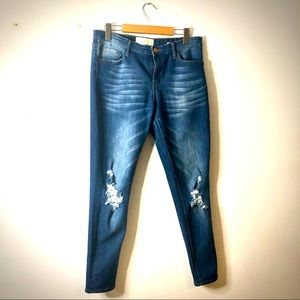 Cafe denim distressed mid rise jeans